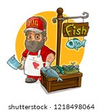 cartoon bearded cook with knife ... | Shutterstock .eps vector #1218498064