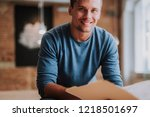 close up of young designer is... | Shutterstock . vector #1218501697