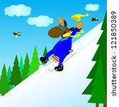 elk rolls down the mountain on... | Shutterstock .eps vector #121850389