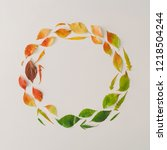 creative wreath of colorful... | Shutterstock . vector #1218504244