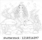 beautiful mermaid. underwater... | Shutterstock .eps vector #1218516397