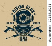 diving school vintage emblem ... | Shutterstock .eps vector #1218518281