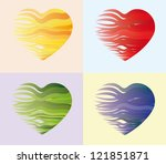 composition of fluttering hearts