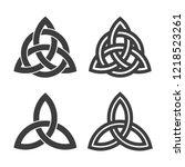 Triquetra symbol set of celtic trinity knot vector icon