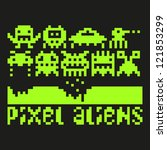 set of pixel art aliens icons ... | Shutterstock .eps vector #121853299