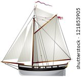 sailboat ancient yacht  19th... | Shutterstock .eps vector #121853905