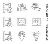 film industry linear icons set. ... | Shutterstock .eps vector #1218540481