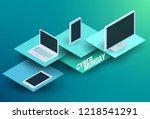 cyber monday 3d isometric... | Shutterstock .eps vector #1218541291
