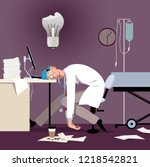 exhausted overworked doctor or...   Shutterstock .eps vector #1218542821