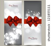 greeting cards with red bows... | Shutterstock .eps vector #121855111