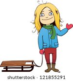 a sketched winter dressed girl... | Shutterstock .eps vector #121855291