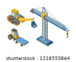 excavator and construction... | Shutterstock .eps vector #1218553864