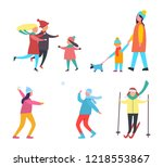winter activities and hobbies... | Shutterstock .eps vector #1218553867