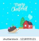 merry christmas greeting poster ... | Shutterstock .eps vector #1218555121