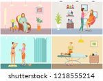 visage makeup and tanning with... | Shutterstock .eps vector #1218555214
