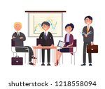 presenter on seminar  business... | Shutterstock .eps vector #1218558094