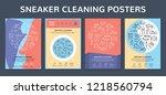 vector sneaker cleaning poster... | Shutterstock .eps vector #1218560794