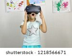 child and virtual reality... | Shutterstock . vector #1218566671