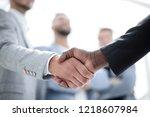 business handshake. two... | Shutterstock . vector #1218607984
