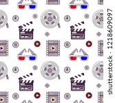 cinema seamless pattern. could... | Shutterstock .eps vector #1218609097