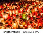 many burning candles in the... | Shutterstock . vector #1218611497