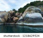 large stones water island ... | Shutterstock . vector #1218629524