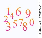 set of colored numbers. button...