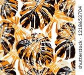 exotic leaves. seamless pattern ... | Shutterstock .eps vector #1218653704