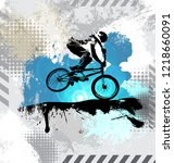 silhouette of a bicycle rider ... | Shutterstock .eps vector #1218660091