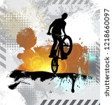 silhouette of a bicycle rider ... | Shutterstock .eps vector #1218660097