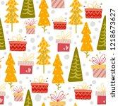 seamless pattern. winter... | Shutterstock .eps vector #1218673627