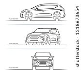 set of vector car silhouettes ... | Shutterstock .eps vector #1218673654