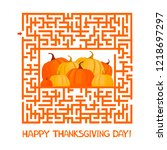 maze game. happy thanksgiving... | Shutterstock . vector #1218697297
