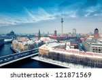 Stock photo berlin skyline winter city panorama with snow and blue sky famous landmark in berlin germany 121871569
