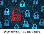 security breach  system hacked... | Shutterstock . vector #1218735091