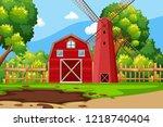 farm scene with red barn... | Shutterstock .eps vector #1218740404