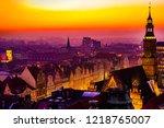 panorama illuminated old town... | Shutterstock . vector #1218765007