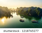 aerial view floating fishing... | Shutterstock . vector #1218765277