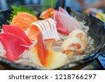 mixed sashimi  big sashimi... | Shutterstock . vector #1218766297