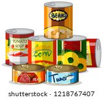 set of canned food illustration | Shutterstock .eps vector #1218767407