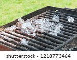 ice cubes melting on a barbeque ... | Shutterstock . vector #1218773464