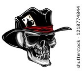 vector skull with top hat and... | Shutterstock .eps vector #1218774844