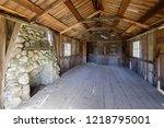 inside an old abandoned log... | Shutterstock . vector #1218795001