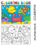 coloring book with marine... | Shutterstock .eps vector #121880944