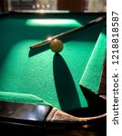 billiards ball and cue on pool... | Shutterstock . vector #1218818587