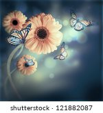 Stock photo floral background gerbery in the rays of light and butterfly 121882087
