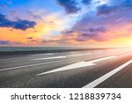asphalt road and dramatic sky... | Shutterstock . vector #1218839734