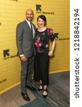 Small photo of New York, NY - November 1, 2018: Keegan-Michael Key and Elisa Pugliese attend the 2018 IRC Rescue Dinner at New York Hilton Midtown