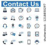 contact us icon set   1  blue...   Shutterstock .eps vector #1218850297