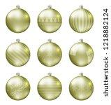 pastel yellow christmas balls... | Shutterstock .eps vector #1218882124